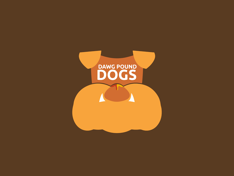 Dawg Pound Dogs: Specialty Hot Dogs hot dog stand orange brown business hot dog design logo