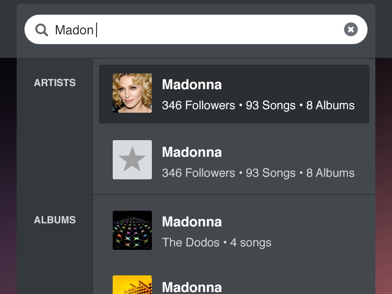Grooveshark Search Results