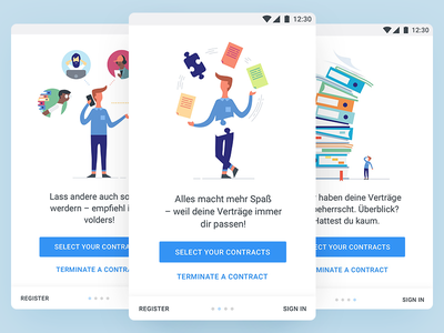 Onboarding Android - volders intro screens illustrations character android on-boarding onboarding