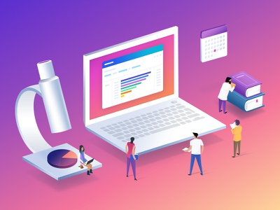 Mixpanel customer research illustration analytics gradient people research mixpanel laptop isometric illustration