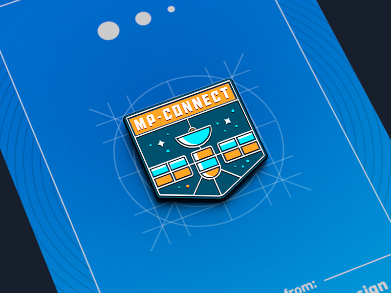 Product Release Pins: MP-Connect data out enamel mixpanel swag pin card