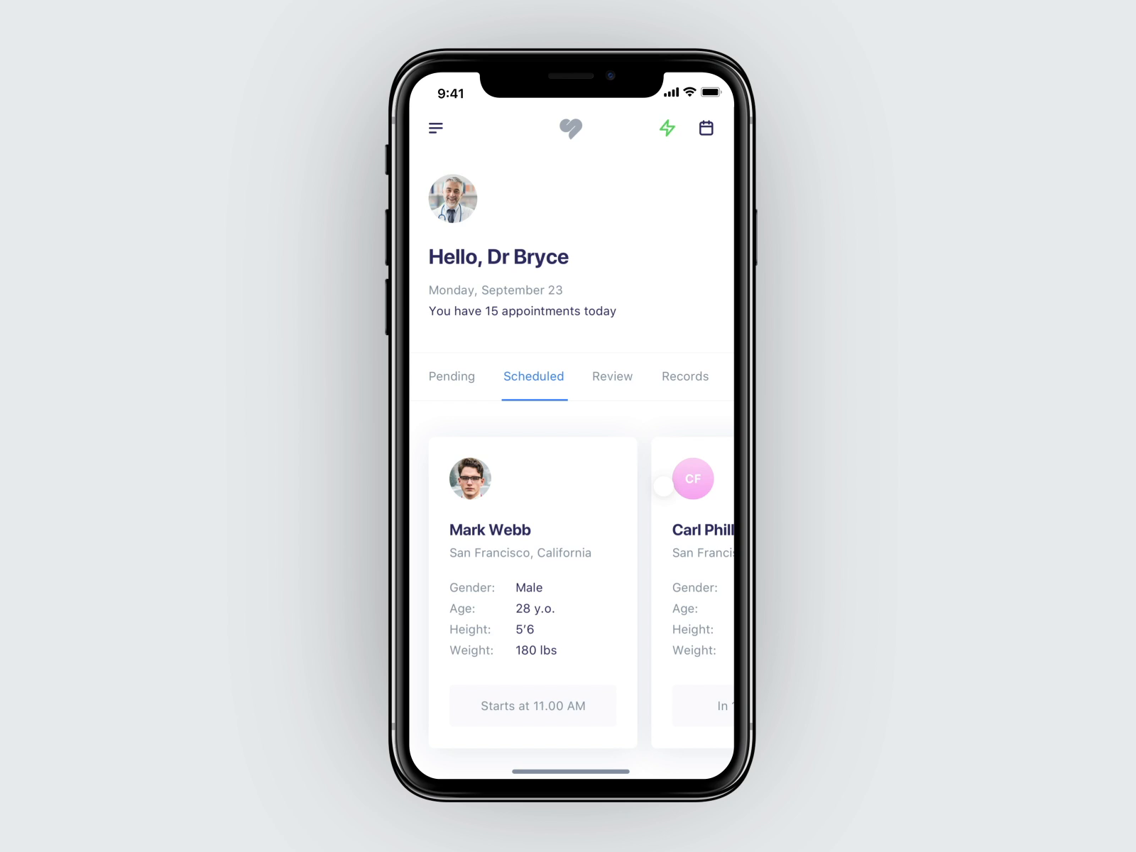 Interactions for doctors app
