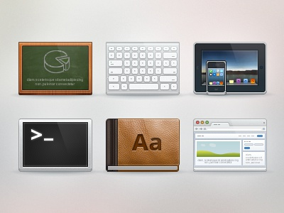 Icons for upcoming project browser set board icons fireworks web application terminal tablet book iphone ipad keyboard