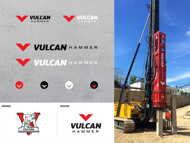 Brand System for Vulcan Hammer heavy equipment before and after logoredesign logo refresh redesign identity brand logos branding