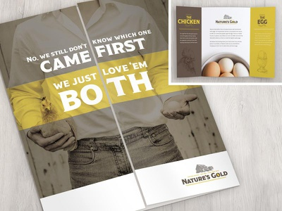 The Chicken or the Egg Brochure yellow mockup fold gate print eggs farm to table natural branding brochure gatefold