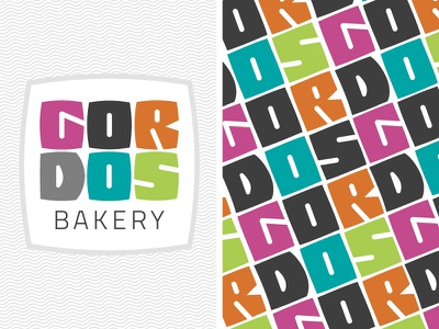 Colorful Bakery hand drawn type step and repeat lettering graffiti pattern multicolor logo brand