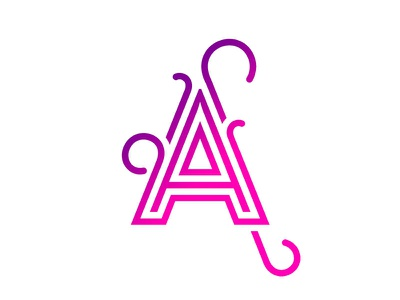 A is for Aroma linework tristroke curls a magenta fuchsia typegang typography logo monogram