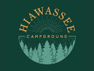 Hiawassee Campground Logo sunrays trendy textured modern vector trees forest rv park campground branding logo