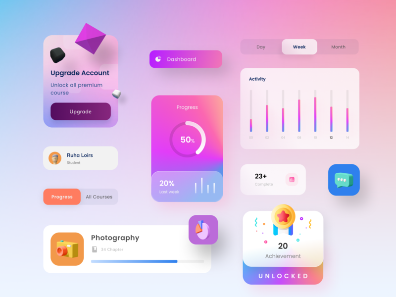 UI Component 3d modern clean big sur app dashboad uidesign figma colorfull trending elements component design ui elegant