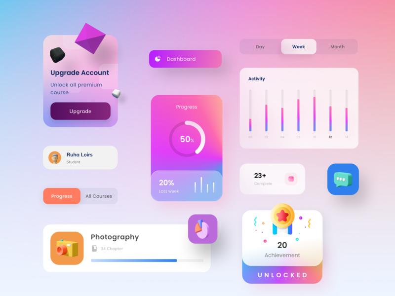 UI Component 3d modern clean big sur app dashboad uidesign figma colorfull trending elements component design ui elegant