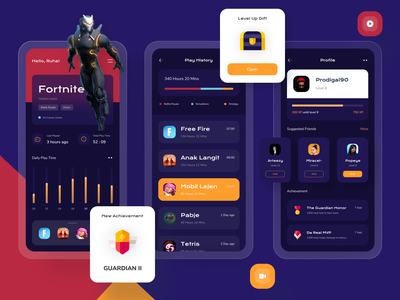 Gamer Game Launcher App 🎮 profile game asset elegant modern dark theme dark mode dark ui dark game launcher game design ux colorfull 3d uidesign figma design ui launcher gaming game