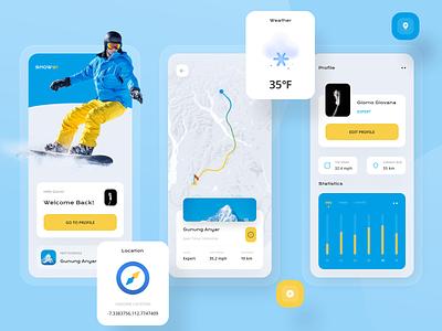 Snowwi Snowboard App 🏂 clean design explore uiuxdesign uiux compass sport activity mountain logo elegant snowboarding snowboard snow clean