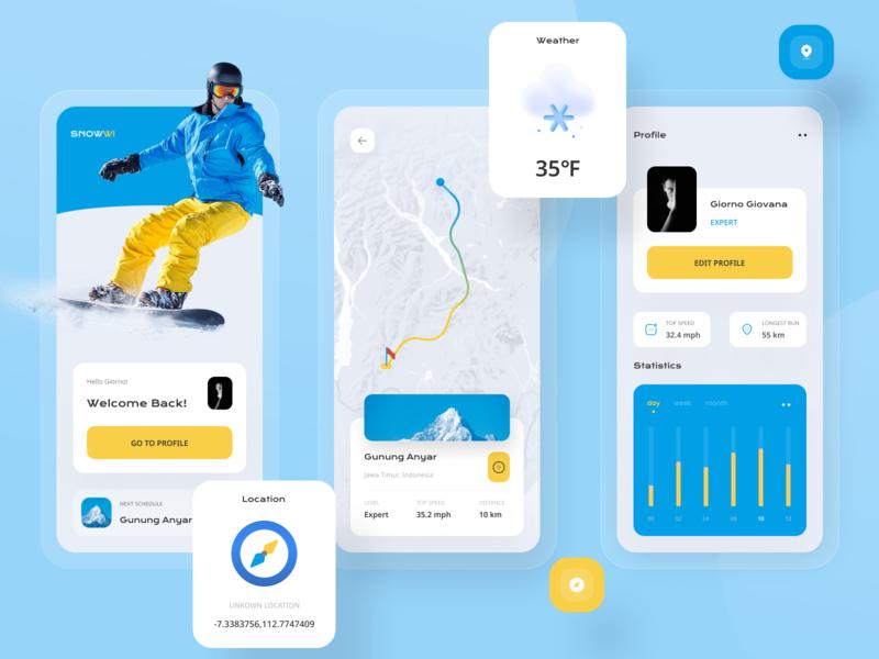 Snowwi Snowboard App clean design explore uiuxdesign uiux compass sport activity mountain logo elegant snowboarding snowboard snow clean