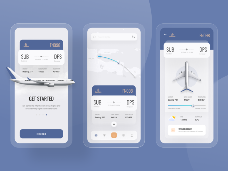 Flight Tracker App ✈️ estimation rute arrival airplane aviation flight tracker aircraft plane blur ux 3d uidesign design ui elegant