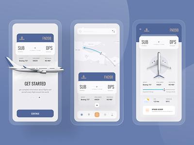 Flight Tracker App ✈️ estimation rute arrival airplane aviation flight tracker aircraft plane blur ux 3d uidesign design ui elegant