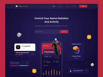 Game Launcher Landing Page 🎮 controls statistics landing page design landing page darkweb launcher game dashboard gaming gamer website yellow red dark landing landingpage game launcher game clean modern design