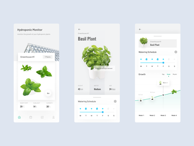 Hydroponic Plant App 🥬 growing green schedule watering growth hydroponics app monitoring farming planting plants greenhouse hydroponics figma clean