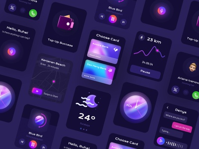 Smart Watch Face ⌚️ glow dark app dark theme clock app music player calling activity smart app figma clean blurred background glass glassmorphism dark ui iwatch watch smartwatch dark mode