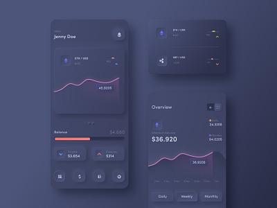 Dashboard Cryptocurrency skeuomorph wallet app crypto wallet bitcoin ethereum cryptocurrency dashboard figma