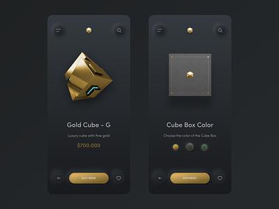 Cube Store App #Freebies uiblack black blackgold freebies neomorphism c4d ux design trending payment store app gold luxury 3d skeuomorphic design uidesign free app figma elegant ui