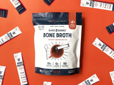 Bare Bones Instant Broth Packaging food and drinks food design cpg packaging food packaging design illustration food healthy food and drink food and beverage food packaging bone broth broth