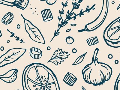 Bare Bones Pattern food illustration food branding natural handmade ingredient illustration ingredients pattern illustration food and beverage food and drink food