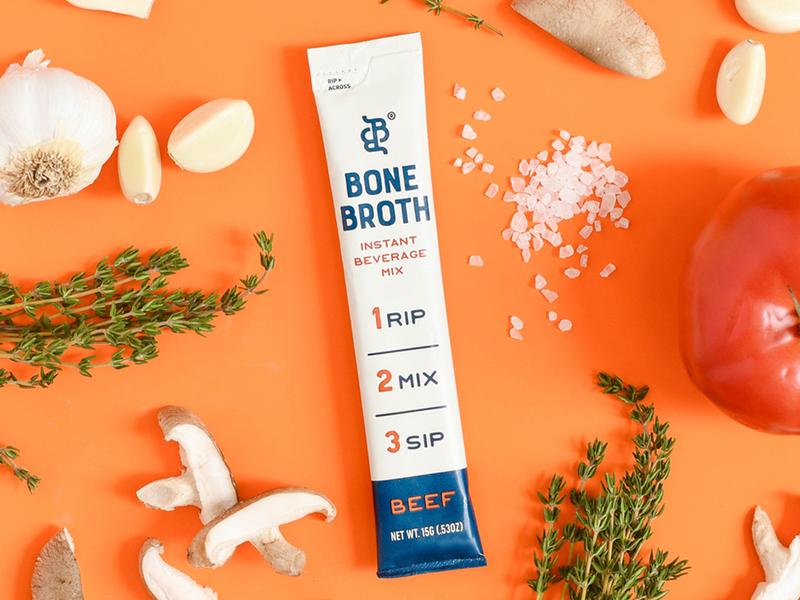 Bare Bones Instant Stick Pack packaging food and drink food packaging design food food packaging bone broth broth