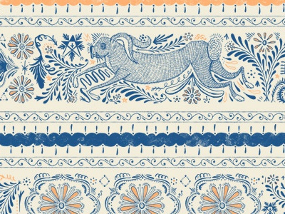 Chinese Aster Pattern pattern flower nature florals nordic folk art