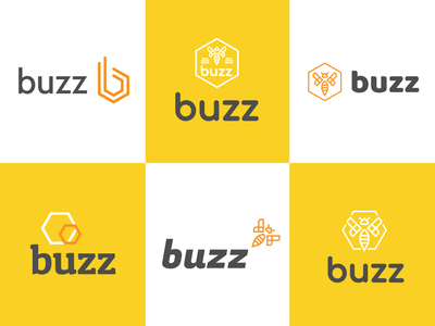 Buzz Exploration design boogaert mathijs branding icon clean fast incect busy honeycomb comb honey flying bright logo b buzz bee