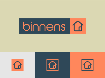 Binnens Huis Logo mark design tyse boogaert mathijs supplies furniture house icon brand logo inside home huis binnens