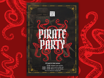 Pirate Party Poster tyse mathijs boogaert boogaert mathijs illustration design style old poster party pirate
