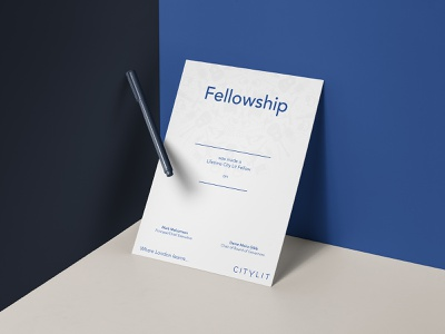 CityLit Fellowship city presentation blue leaflet certificate mathijs boogaert mathijs boogaert pen paper mockup layout document fellowship