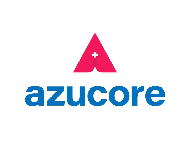 Azucore clear rocket sky software a icon tyse design mark logo tech star core
