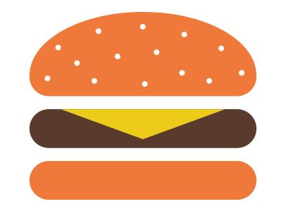 Hamburger Button w/Cheese hamburger icon button illustration