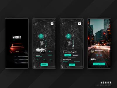 Moober | Ride Sharing App driver splash ola lyft uber ride sharing ride mobile germany dark mobile app mobile design webdesign uiux app design ux user interface design uidesign ui