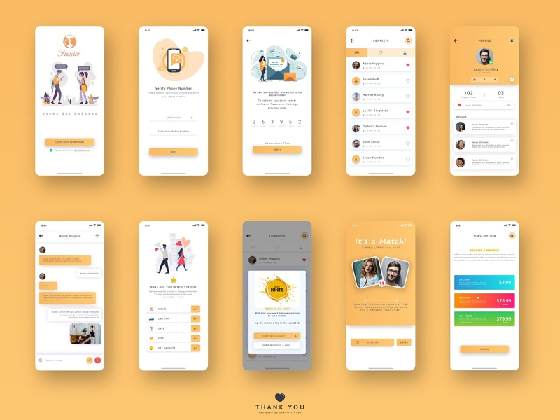 Fancier App design india subscription chat profile otp dating app uiux user interface design uidesign ux ui app designer app design app design