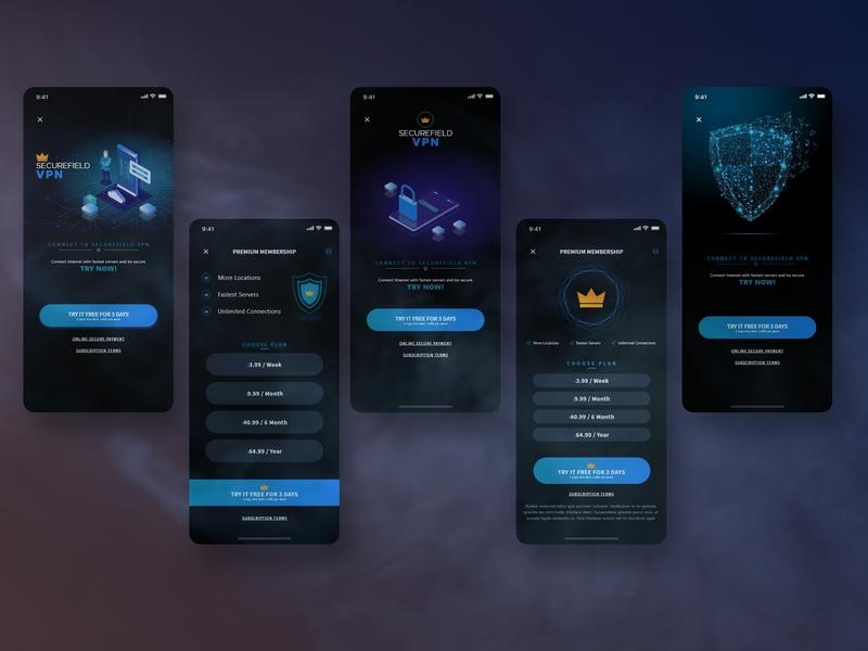 SecureField VPN premium pro pan app screen vpn service hack technology premium plan subscription securefield vpn uiux user interface design uidesign app designer ux ui app design app