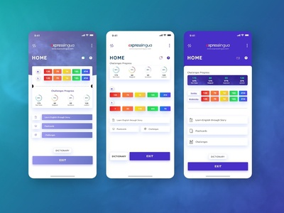 ExpressLingua UI Dashboard Design challenges flashcards learning app english learn english progressbar dictionary home page home screen dashboard dribbble uiux web user interface design uidesign app designer ux ui app app design