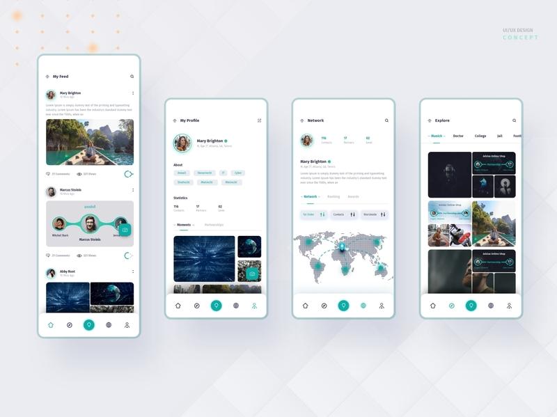 Social Media App design Concept 1 partner partnering matching minimal network explore profile homescreen home my feed web uiux design app designer app design user interface design uidesign app ux ui