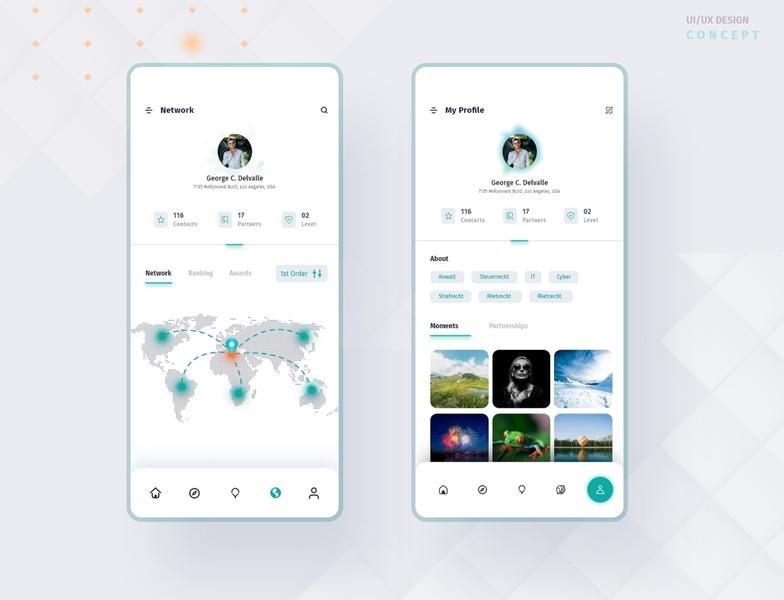 Social Media App design Concept 2 matching partnering my profile network dribbble web uiux design app designer app design user interface design uidesign app ux ui