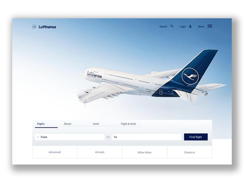 Lufthansa website - concept part 1 design ux ui web design airline