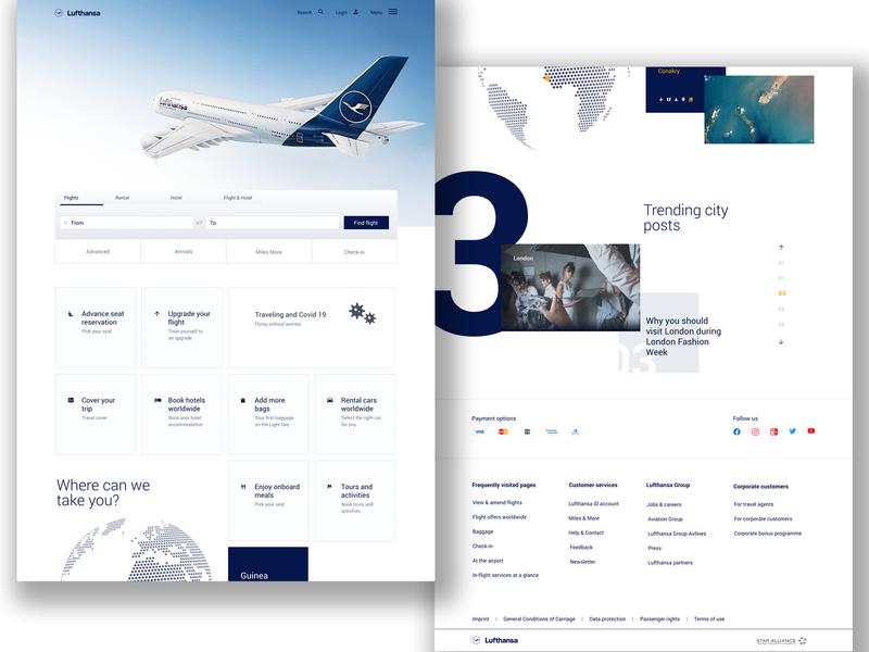 Lufthansa website - concept part 2 lufthansa airline design ux ui website design