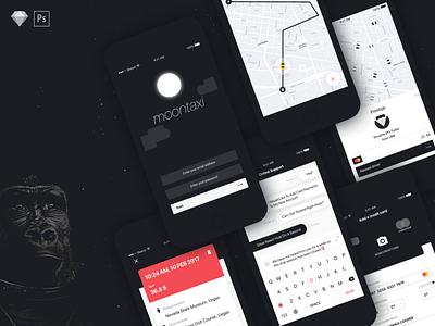 Moontaxi Ui Kit uber mobile app ui kit messenger psd design vector sketch ux ios app taxi