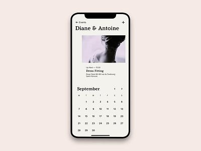 Mobile Calendar mobile agenda wedding app ios schedule event calendar typography animation