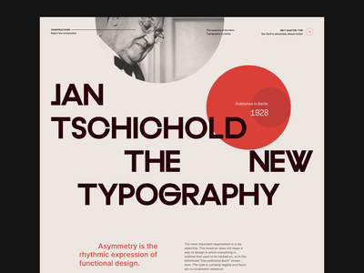 Jan Tschichold The New Typography 001 website concept editorial grid design grid grid layout branding website typography web design