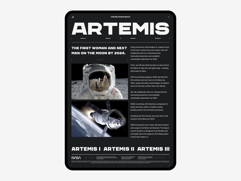 Nasa Artemis 005 space web design typography layout design layout grid website design website nasa