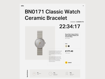 Braun Watch 001A grid layout grid braun dieter rams watch product page website typography web design