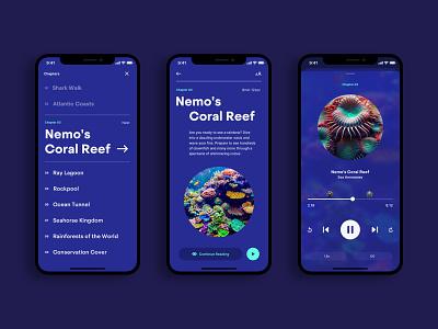 Aquarium Audio Guide 01 menu chapter fish app ios guide audio player player audio
