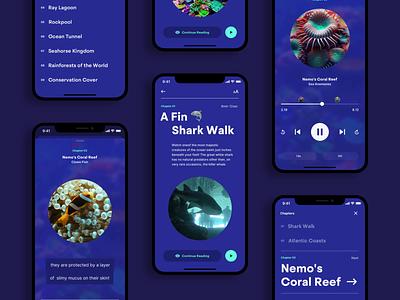 Aquarium Audio Guide 02 video chapter audio player audio typography layout ui design mobile guide ios player menu aquarium