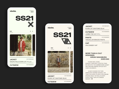 Visvim SS21 01 collection fashion ui design typography app mobile